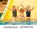 three little kids playing in... | Shutterstock . vector #207095791