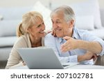 senior couple websurfing on... | Shutterstock . vector #207102781