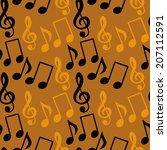 seamless pattern with musical... | Shutterstock . vector #207112591
