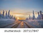 Winter Road In Northern Sweden
