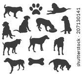 black silhouettes of dogs  | Shutterstock .eps vector #207130141