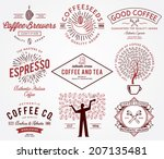 coffee badges colored | Shutterstock .eps vector #207135481
