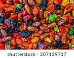 colorful mix of raisins  dates... | Shutterstock . vector #207139717