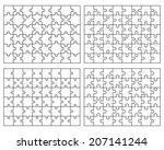 set of different white puzzles  ... | Shutterstock .eps vector #207141244