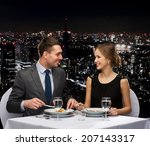 restaurant  couple and holiday... | Shutterstock . vector #207143317