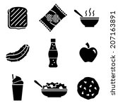 vector sandwich shoppe icons | Shutterstock .eps vector #207163891