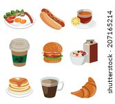 set of foods and beverage ... | Shutterstock .eps vector #207165214