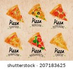 pizza watercolor set hand drawn ... | Shutterstock .eps vector #207183625