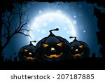 grungy halloween background... | Shutterstock .eps vector #207187885