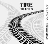 tire tracks in perspective view.... | Shutterstock .eps vector #207197479