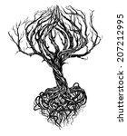 Hand   Drawn Old Bare Tree Wit...