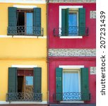 four windows on two contrasting ... | Shutterstock . vector #207231439