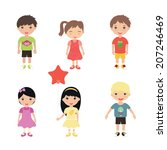 collection of happy children... | Shutterstock .eps vector #207246469