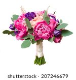 wedding bouquet with rose bush... | Shutterstock . vector #207246679
