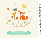 cute autumn illustration with... | Shutterstock .eps vector #207247417