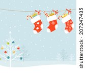 christmas socks and christmas... | Shutterstock .eps vector #207247435