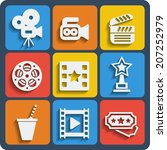 set of 9 cinema vector web and... | Shutterstock .eps vector #207252979