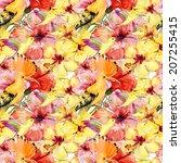 watercolor pattern of exotic... | Shutterstock . vector #207255415