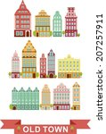set of colorful old houses in... | Shutterstock .eps vector #207257911