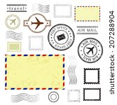 set of postal stamps and... | Shutterstock .eps vector #207288904