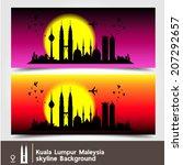 kuala lumpur  malaysia  skyline ... | Shutterstock .eps vector #207292657