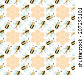 seamless pattern with bees ... | Shutterstock .eps vector #207293101
