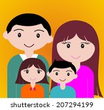 four member of happy family... | Shutterstock .eps vector #207294199