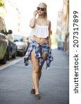 beautiful urban young girl... | Shutterstock . vector #207317899