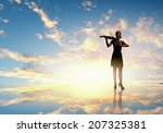 silhouette of woman playing... | Shutterstock . vector #207325381