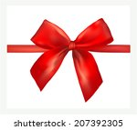 red gift bow with ribbon.... | Shutterstock .eps vector #207392305