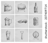 hand drawn beer icon set. vector | Shutterstock .eps vector #207409714