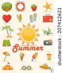 summer flat icons vector  | Shutterstock .eps vector #207412621