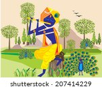 lord krishna flute 3   Shutterstock .eps vector #207414229