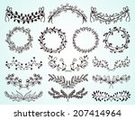 set of dainty black and white... | Shutterstock .eps vector #207414964