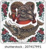 hand drawn set of old school... | Shutterstock .eps vector #207417991