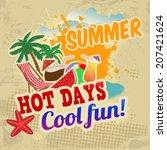 summer vintage grunge poster ... | Shutterstock .eps vector #207421624