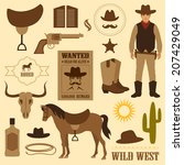 wild west icon  western wanted... | Shutterstock .eps vector #207429049