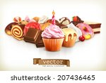 festive cupcake with candle ... | Shutterstock .eps vector #207436465