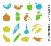 vector food black icon set | Shutterstock .eps vector #207442855