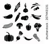 modern vegetable vector icon set | Shutterstock .eps vector #207443131
