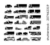 Set Icons Of Trucks  Trailers...