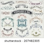 vector. 23 labels and banners.
