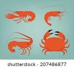 vector shrimp  lobster  crab...   Shutterstock .eps vector #207486877
