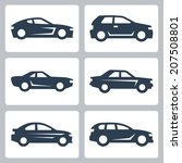 vector cars icons set  side view