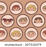 pattern with children's smiles | Shutterstock .eps vector #207510379