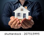 holding house representing home ... | Shutterstock . vector #207515995