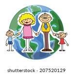 happy doodle family | Shutterstock .eps vector #207520129