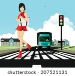 woman in a zebra crossing with...