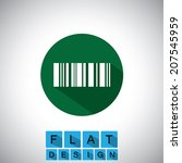flat design icon of barcode  ...