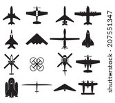 airplane icons set   Shutterstock .eps vector #207551347